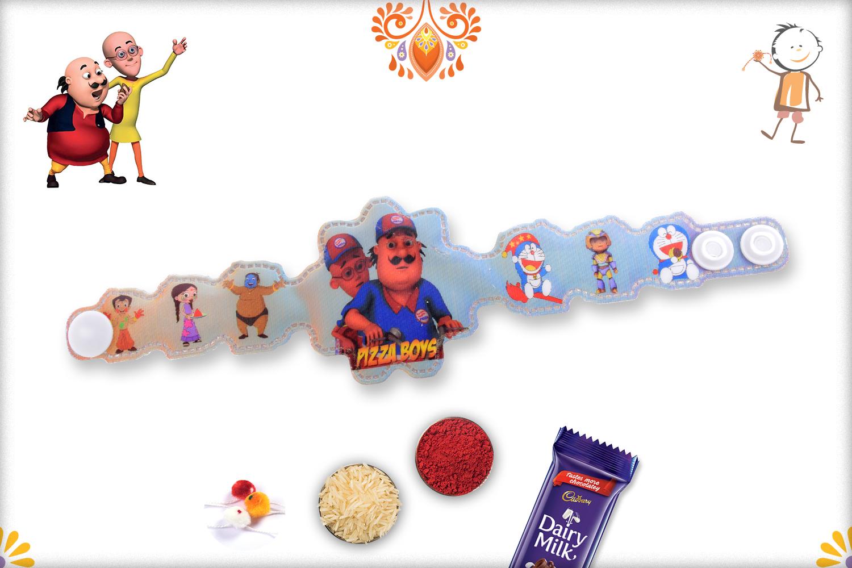 3D Motu Patlu Pizza Boys Rakhhi 1