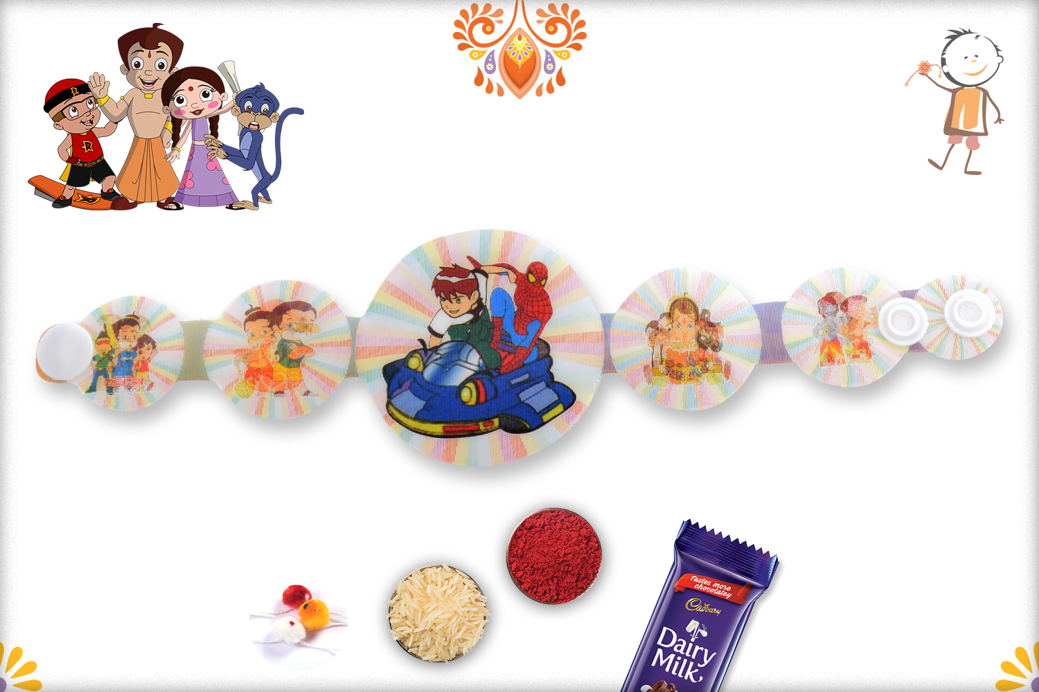 3D Dashing Duo Of Spiderman And Ben Ten Rakhi 1