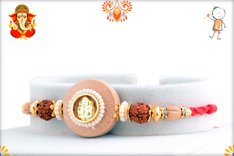 Aishwarya Wooden Ganpati With Rudraksha Rakhi 2