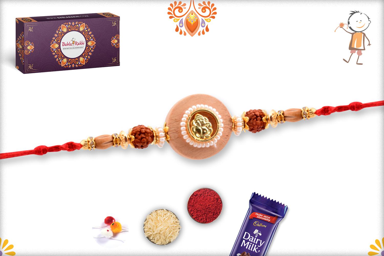Aishwarya Wooden Ganpati With Rudraksha Rakhi 3