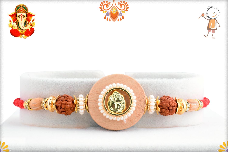 Aishwarya Wooden Ganpati With Rudraksha Rakhi 1