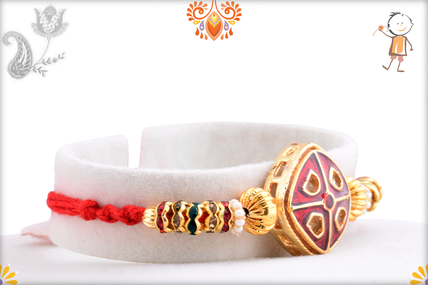 Aishwaryaq Gold And Royal Red Rakhi 2