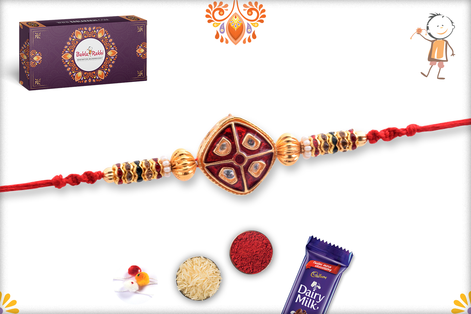 Aishwaryaq Gold And Royal Red Rakhi 3