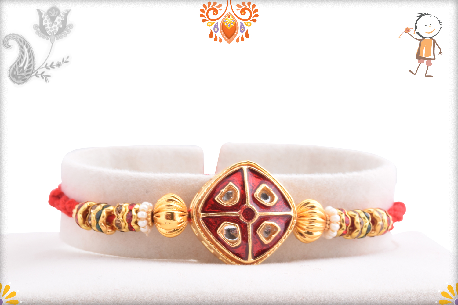 Aishwaryaq Gold And Royal Red Rakhi 1