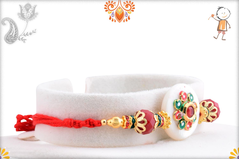 Aishwarya Unique Combination Of White And Red Rakhi 1