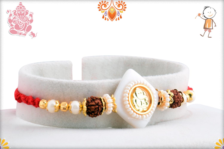 Stunning Ganpati With White Marble and Rudraksha Rakhi 2