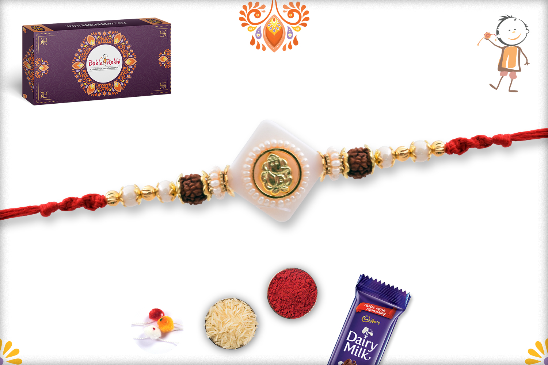 Stunning Ganpati With White Marble and Rudraksha Rakhi 3