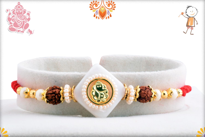 Stunning Ganpati With White Marble and Rudraksha Rakhi 1