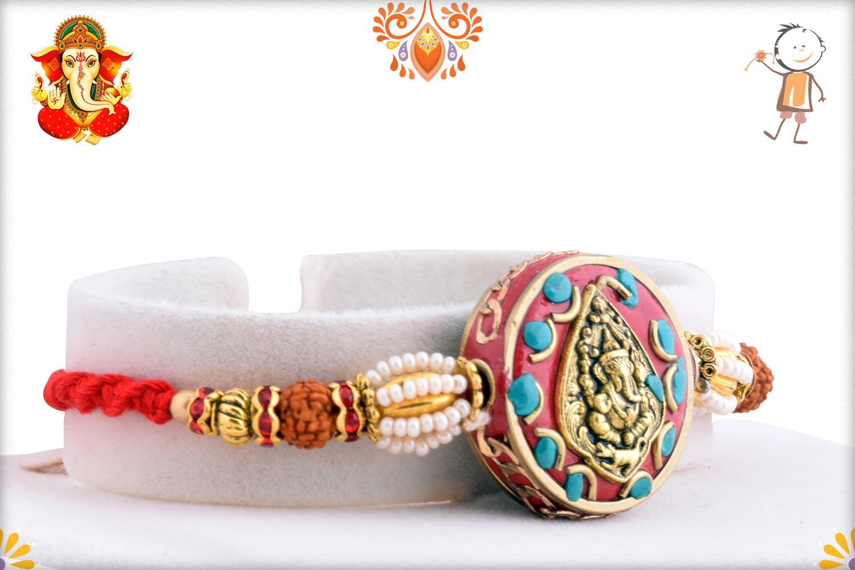 Golden Leaf Ganpati With Royal Red Base And Rudraksha Rakhi 2
