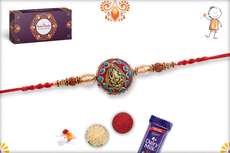 Golden Leaf Ganpati With Royal Red Base And Rudraksha Rakhi 3