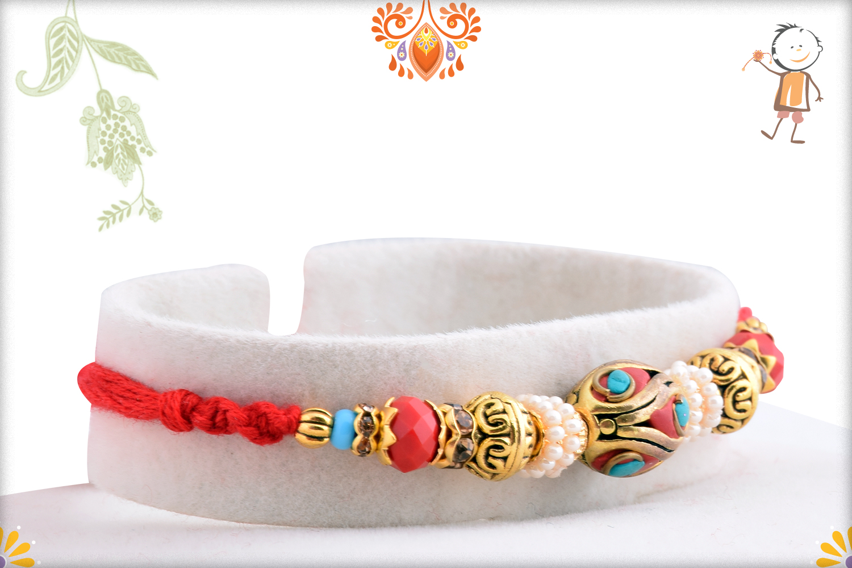 Royal Red Infinite With Pearl Beads Rakhi 2