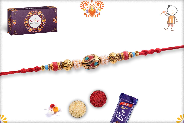 Royal Red Infinite With Pearl Beads Rakhi 3