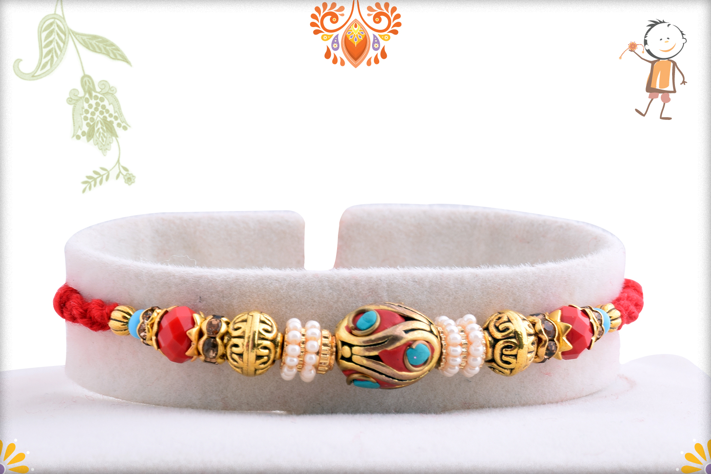 Royal Red Infinite With Pearl Beads Rakhi 1