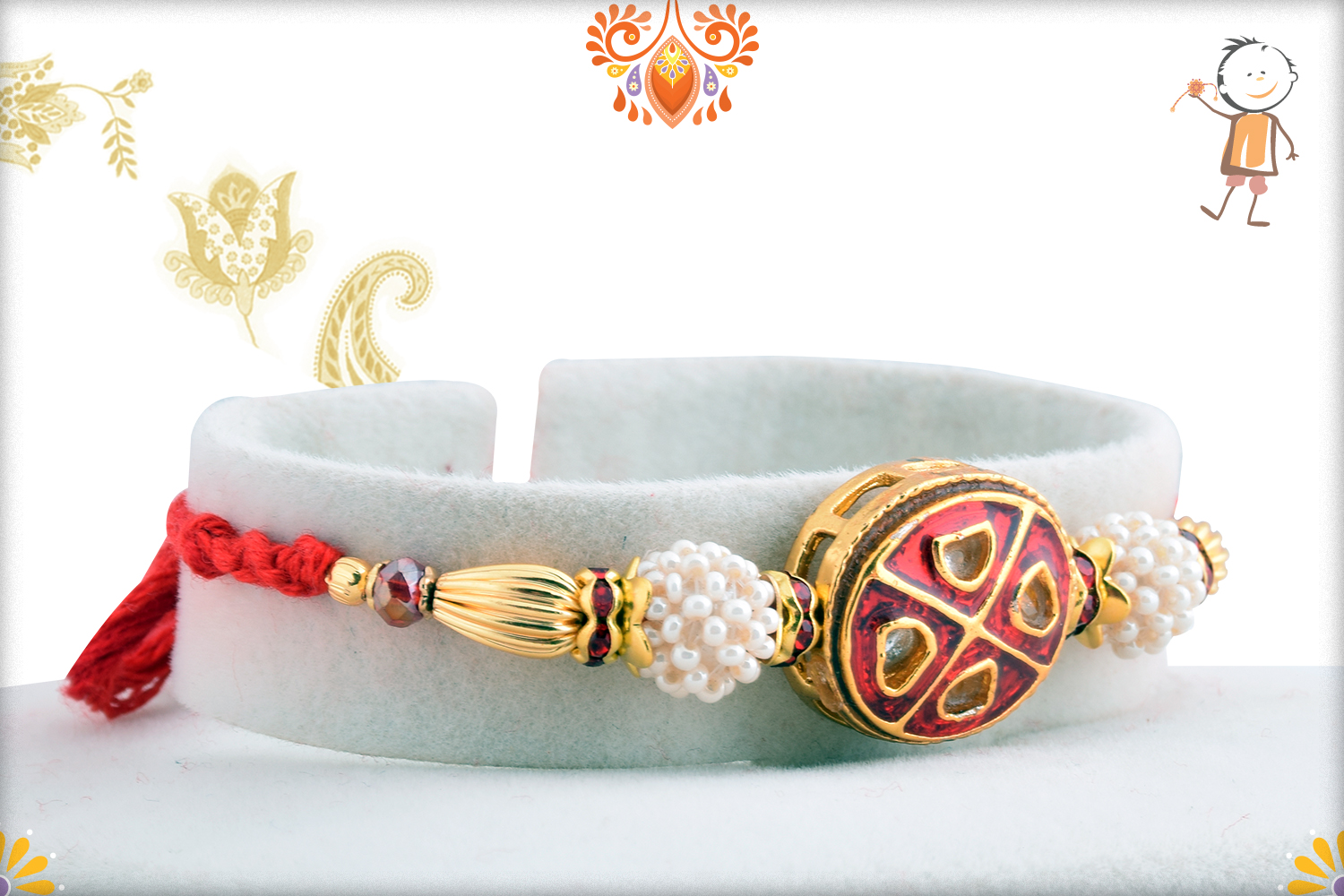 Vibrant Red With White Pearl Rakhi 2