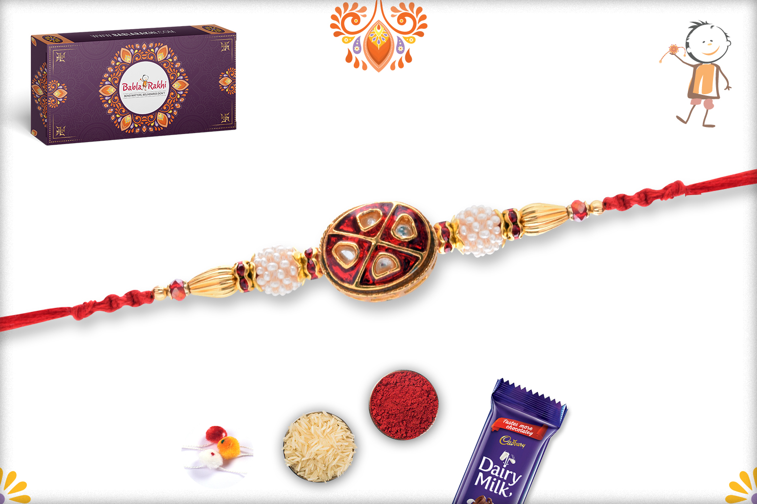 Vibrant Red With White Pearl Rakhi 3