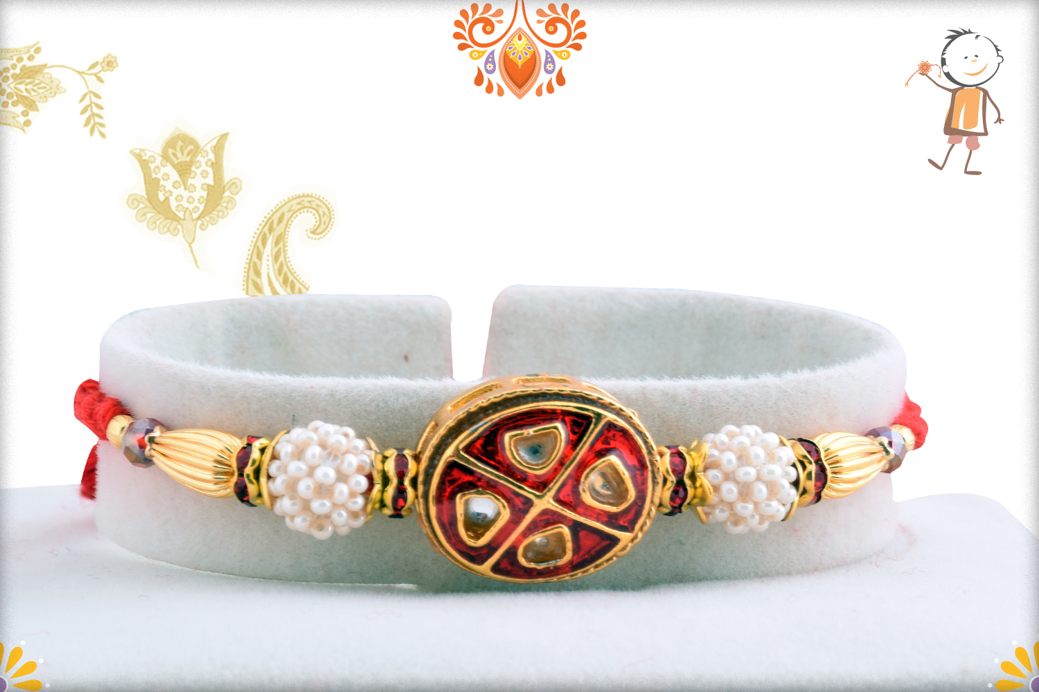 Vibrant Red With White Pearl Rakhi 1