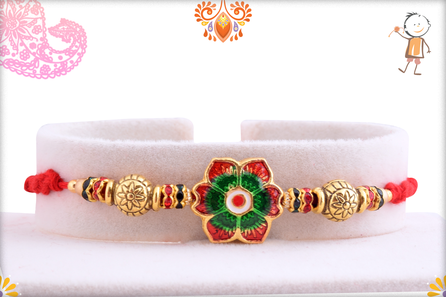 Dual Color Flower With Red Thread Rakhi 1