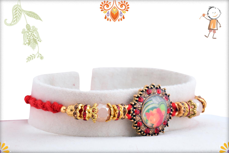 Radiant Diamond With Colorful Stone Rakhi 2