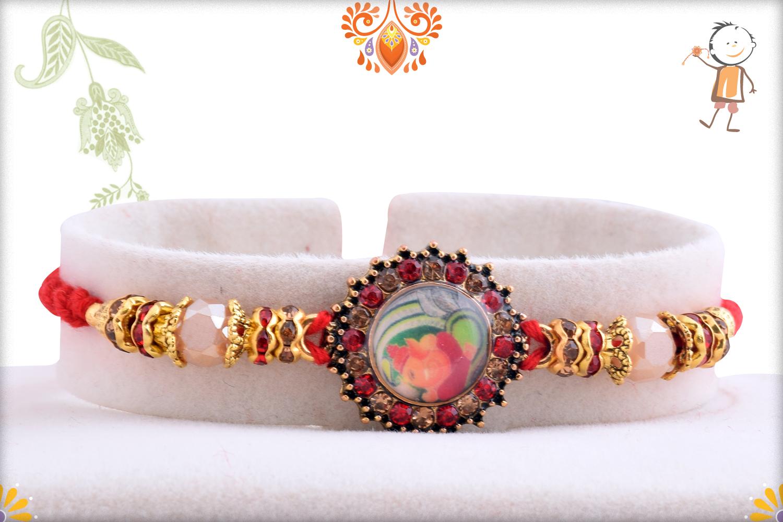 Radiant Diamond With Colorful Stone Rakhi 1