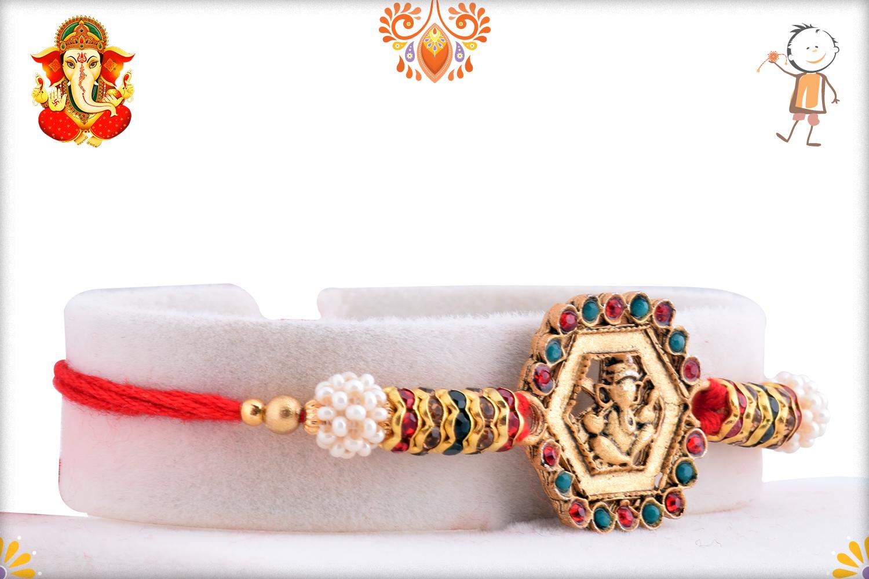 Spiritual Hexagon Shape Ganpati Rakhi 2