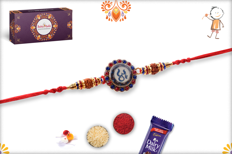 Mighty Combination Of Om And Rudraksha Rakhi 3