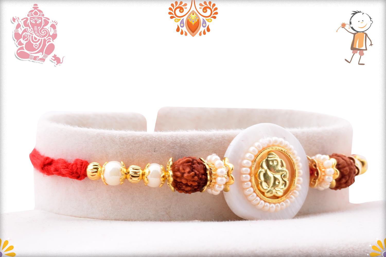Beautiful Ganpati With White Marble Rakhi 2