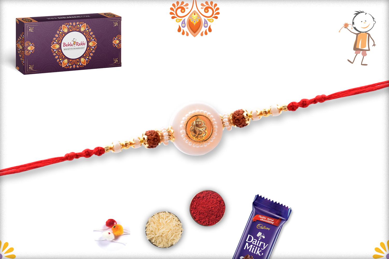 Beautiful Ganpati With White Marble Rakhi 3