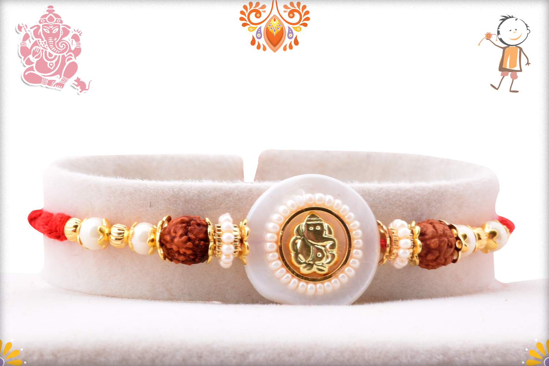 Beautiful Ganpati With White Marble Rakhi 1