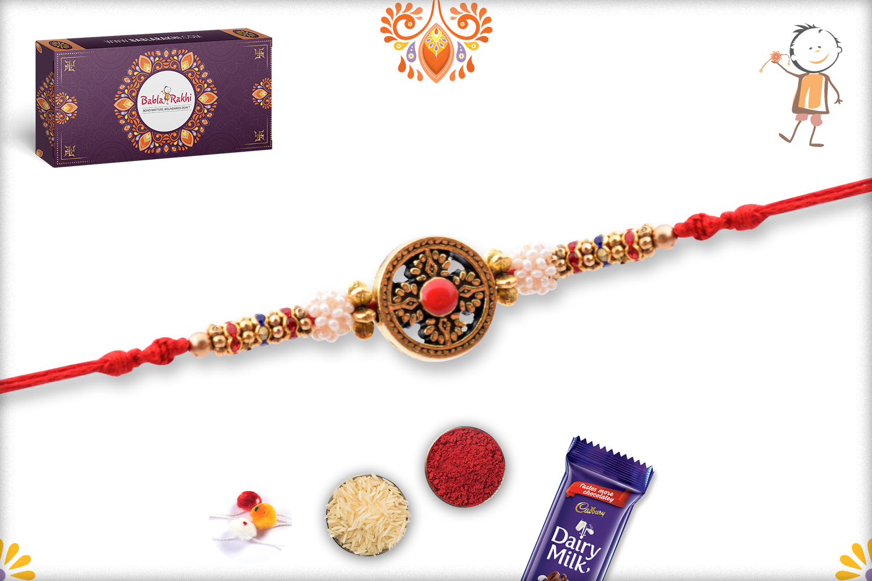 Exclusive Designer Golden Rakhi With Flower Of White Pearls 3