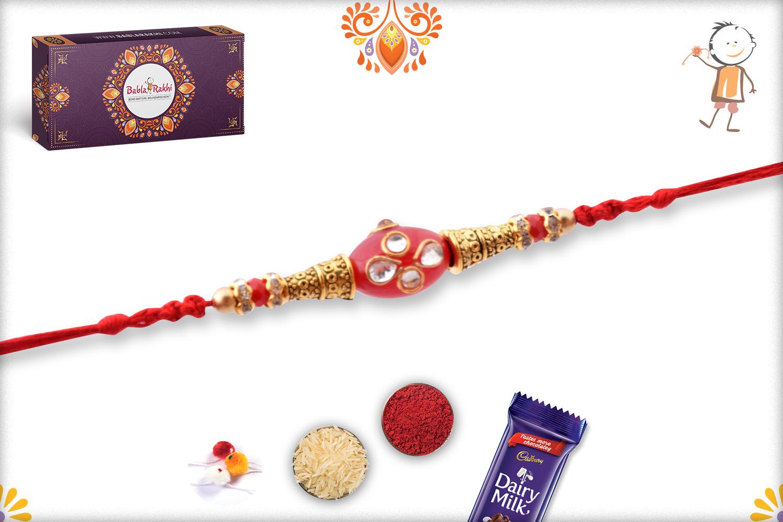Oval Shape Red Kundan Rakhi 3