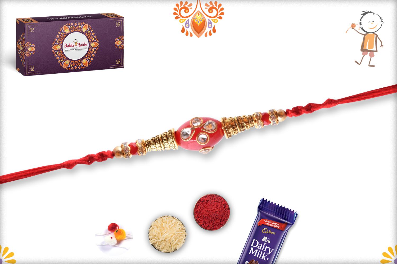 Oval Shape Red Kundan Rakhi 4