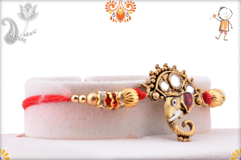 Royal Golden Ganpati With Kundan Rakhi 2