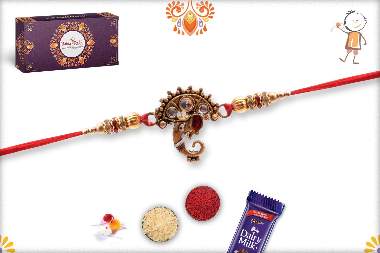 Royal Golden Ganpati With Kundan Rakhi 3