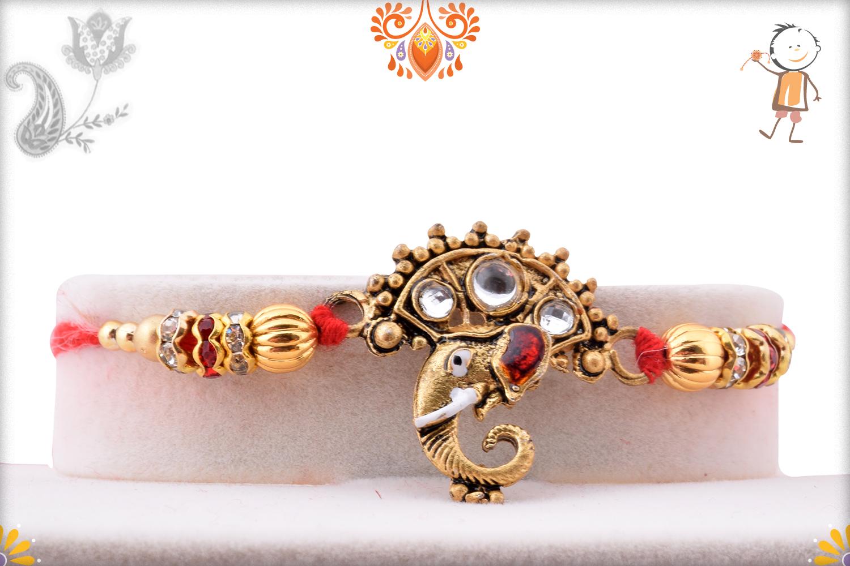 Royal Golden Ganpati With Kundan Rakhi 1