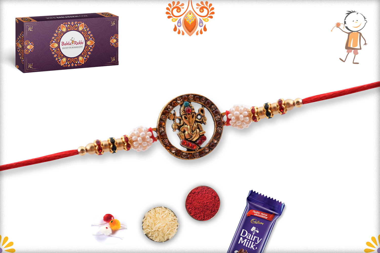 Designer Ganpati With Pearl Beads Rakhi 3