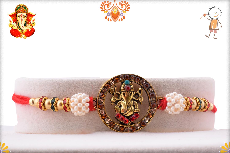 Designer Ganpati With Pearl Beads Rakhi 1