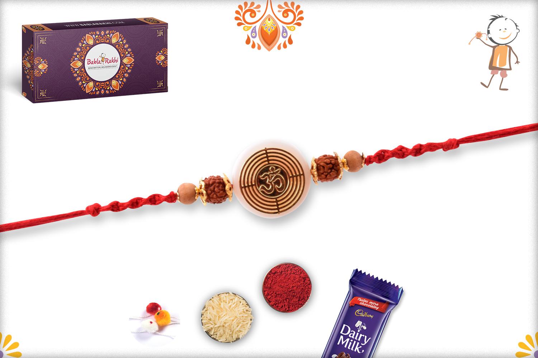 Spiritual Om With Rudraksha And Gold Pearl Rakhi 3