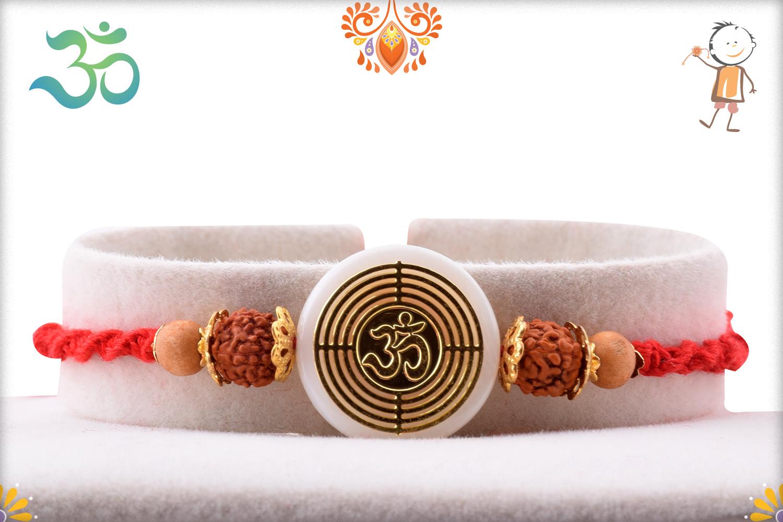 Spiritual Om With Rudraksha And Gold Pearl Rakhi 1