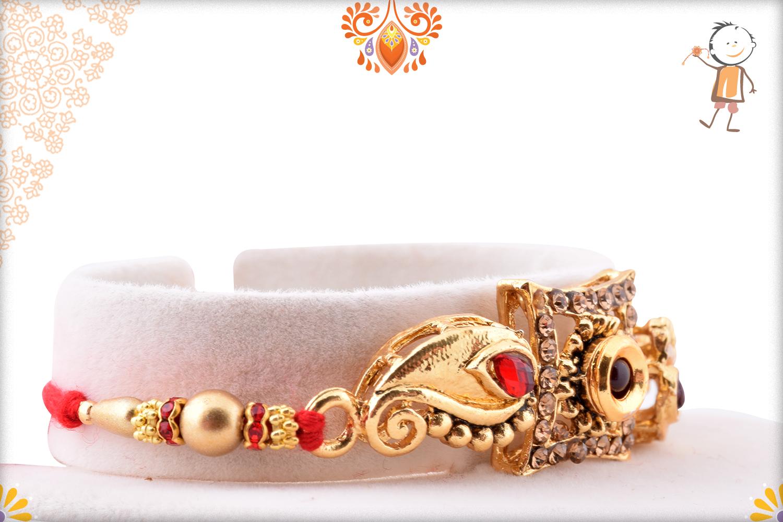 Unique Golden Design With Classic Flower Rakhi 2
