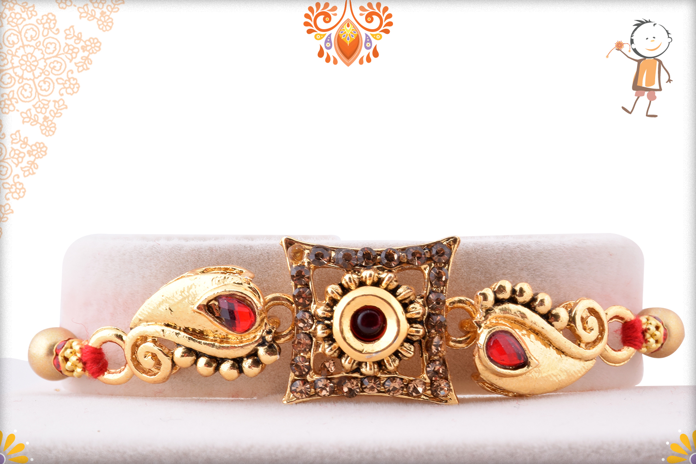 Unique Golden Design With Classic Flower Rakhi 1