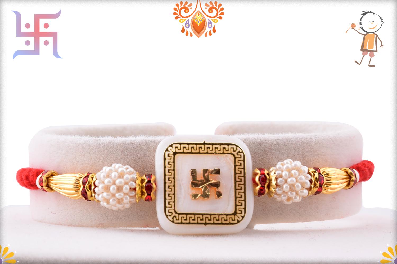 Royal Golden Swastik Rakhi 1
