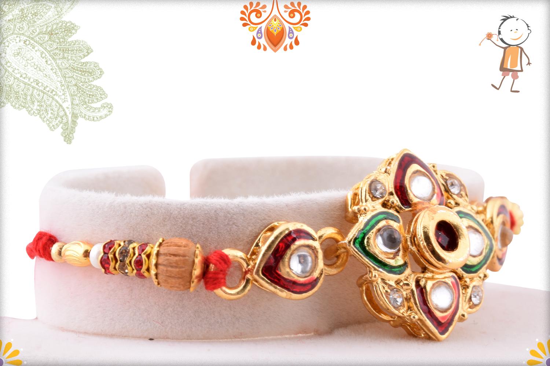 Exclusive Kundan With Wooden Pearl Rakhi 2
