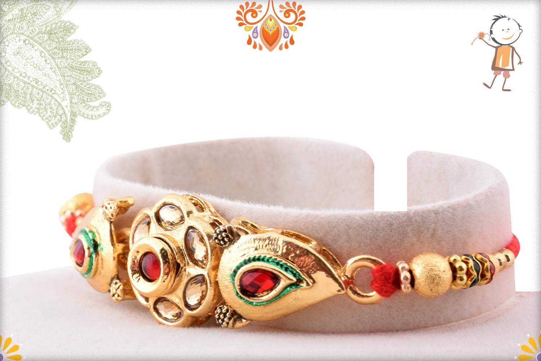 Aishwarya Golden Flower With Golden Pearl Beads Rakhi 2