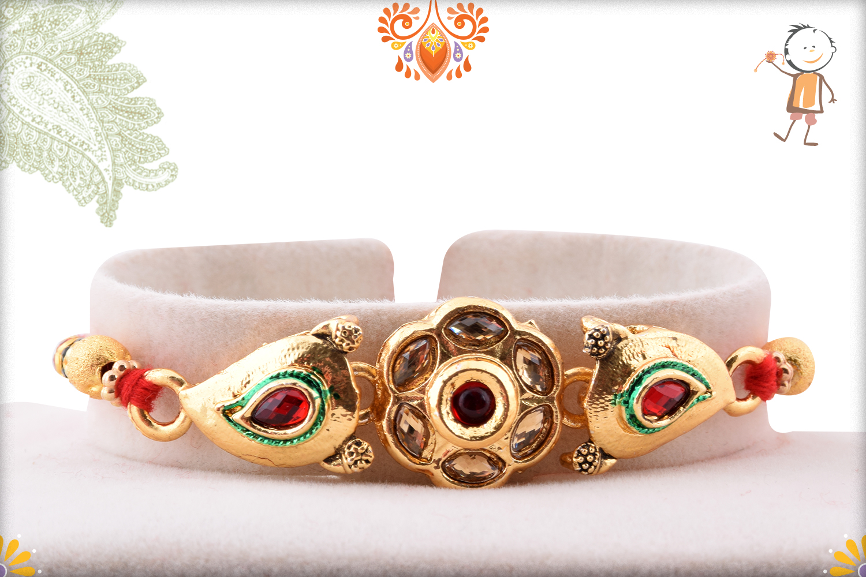 Aishwarya Golden Flower With Golden Pearl Beads Rakhi 1