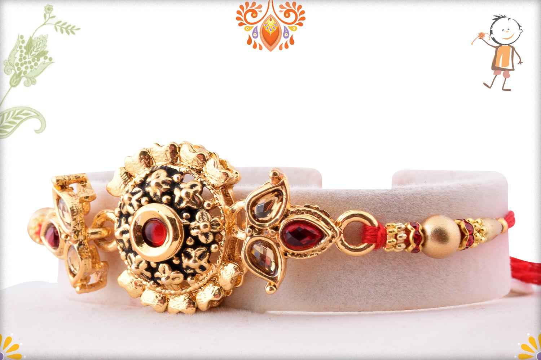 Designer Golden Flower With Golden Pearl Beads Rakhi 3