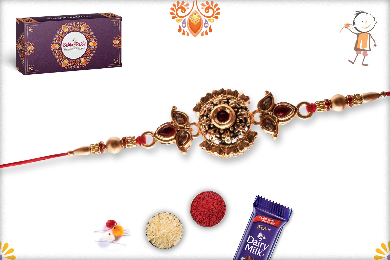 Designer Golden Flower With Golden Pearl Beads Rakhi 4