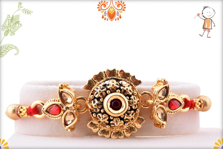 Designer Golden Flower With Golden Pearl Beads Rakhi 1