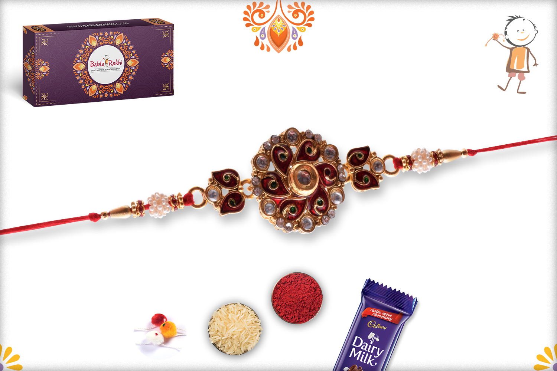 Royal Red Morpankh Flower With Kundan And Stone Rakhi 1