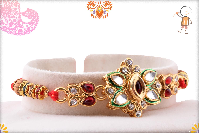 Classic Desiner Kundan Flower Rakhi 2