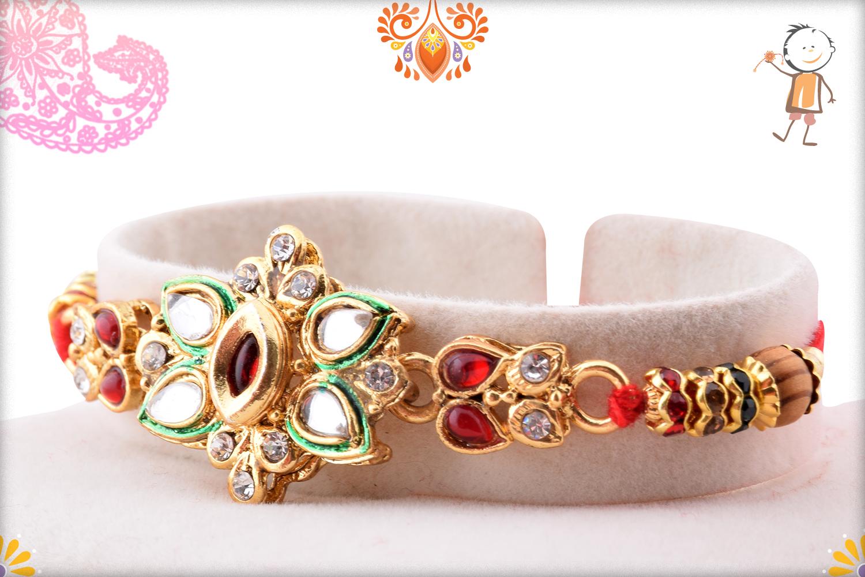 Classic Desiner Kundan Flower Rakhi 3
